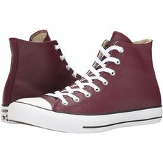 Converse Chuck Taylor All Star Seasonal Leather Hi Lace up casual... ($56) ❤ liked on Polyvore featuring shoes, sneakers, red, red high top sneakers, red high tops, red sneakers, converse high tops and leather sneakers