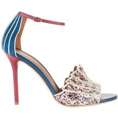 Malone Souliers Women's Minnie Splatter Paint Snakeskin Sandals ($680) ❤ liked on Polyvore featuring shoes, sandals, multi, ankle strap sandals, high heel sandals, open toe shoes, snakeskin sandals and blue high heel shoes
