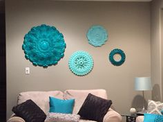Ceiling medallions in turquoise and teal