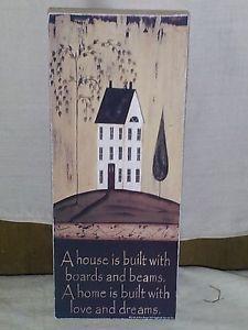 Primitive decor ~ shelf block saltbox house ~ country ~ americana ~ prim