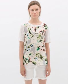 Image 1 of COMBINED LINEN T-SHIRT from Zara