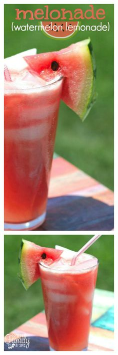 This Melonade (watermelon lemonade) is just bursting with the flavors of summer! What I love most is that it is a great solution for leftover watermelon. via @favfamilyrecipz