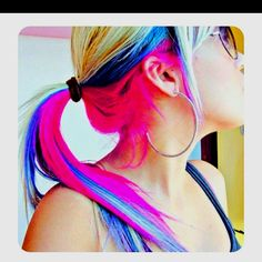 Pink and blue hair I think I might do this to my hair!