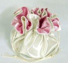 Wedding Bag Satin Bridal Money Purse Ivory and Pink by EdieCastle Wedding Bags, Ivory, Satin, Purses, Maids, Bridal, Trending Outfits, Unique Jewelry, Handmade Gifts