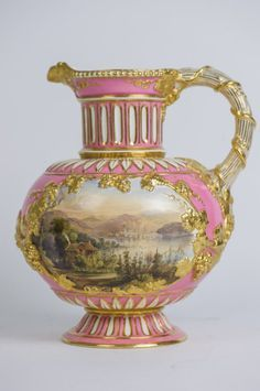 19th century English porcelain ewer, hand painted with scenes on both sides. 10' h
