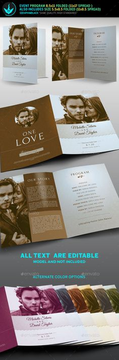 Retro Wedding Program Template PSD