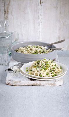 ... linguine with lemon and peas ...