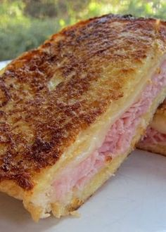 Monte Cristo Sandwich - ham and cheese sandwich dipped in a egg bath and grilled