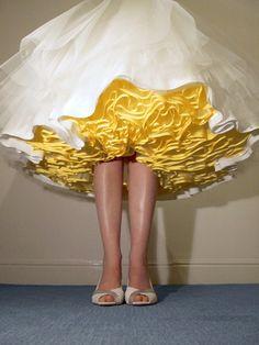 CANDY ANTHONY - 50's Tea Length Yellow Petticoat & Silk Sash Size 8 | eBay