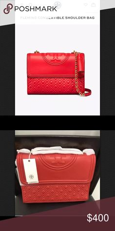 fc1aadbd3c3 Fleming Large Convertible Shoulder Bag 43834 Red New volcano red Tory bag  .New never used. Poshmark