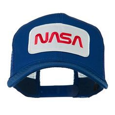 80bcf14bfdc93 NASA Logo Embroidered Patched Mesh Back Cap - Royal OSFM Nasa Patch