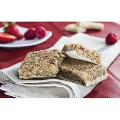 Protein and fibre rich bar with increased vitamins and mineral elements, sugars and sweeteners.