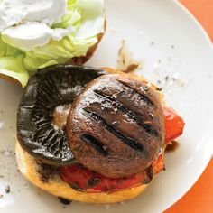 The sweet, complex flavors of balsamic vinegar enhance the smokiness of grilled portobellos and bell pepper, making for an ultra-satisfying meatless burger.