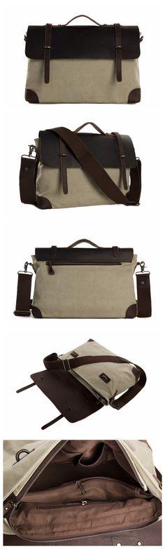 4979a40740f7 Canvas Leather Briefcase Messenger Bag Shoulder Bag Laptop Bag Canvas Laptop  Bag