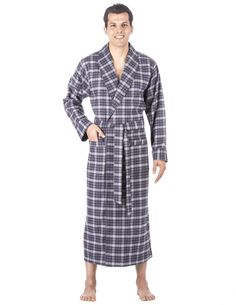ce8dfee9b6 Nothing warms a cool morning or night better than cotton flannel. Our Noble  Mount® all cotton yarn-dyed flannel long robe will chase the chills away.