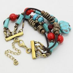 Statement Gold Tone Turquoise Bead Hot Charm Gold Tone Bracelet New