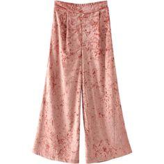 Elastic Waist Wide Leg Velvet Pants (1,285 INR) ❤ liked on Polyvore featuring pants, elastic waist wide leg pants, stretch waist pants, wide leg pants, velvet pants and elastic waist trousers