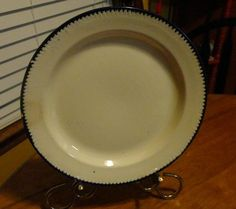 RARE Antique 1860s To 1880s Blue Shell Edge Common Earthware Plate/Fine English
