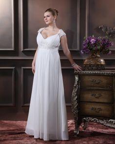 Elegant Sweetheart Floor-length Chiffon Plus Size Wedding Dress  Read More:     http://www.weddingspnina.com/index.php?r=elegant-sweetheart-floor-length-chiffon-satin-plus-size-wedding-dress.html
