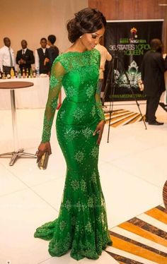 Emerald 2015 Long Sleeves High Neck Mermaid Green Lace Formal Evening Dress