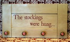 Christmas Stocking Hanger DIY - cute alternative to hanging stockings instead of fireplace Little Christmas, All Things Christmas, Winter Christmas, Merry Christmas, Rustic Christmas, Tacky Christmas, Pallet Christmas, Vintage Christmas, Christmas Ornaments