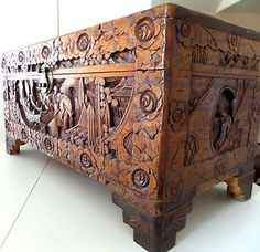Old Figural Hand Carved Chinese Camphor Chest  With Roses 29