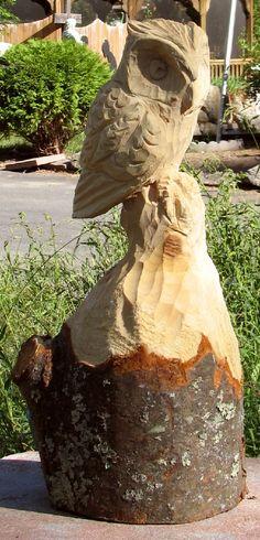 Screech Owl Chainsaw Sculpture