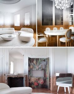 Historic Paris Apartment Gets Gradient - Ramy Fischler has taken these and other historic elements and layered over them with modern touches, from a gradient of white epoxy paint do...