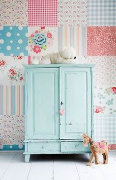 patchwork wall and shabby chic cupboard. i need to own a store so i can decorate like this - i dont know that gareth would like this theme im into! Girl Nursery, Girls Bedroom, Bedroom Ideas, Nursery Ideas, Bedrooms, Chic Nursery, Rustic Furniture, Painted Furniture, Vintage Furniture