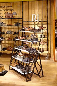 River Island Urban Vintage fitting Shoe Store Design, Retail Store Design, Fashion Retail Interior, Shoe Display, Shop Fittings, Store Interiors, Contract Furniture, Shelf Design, Shop Interior Design