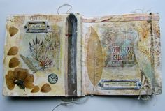 "pages from ""Be the Light"" artists book by Roxanne Evans Stout of the River Garden Studio #art_journaling #nature"