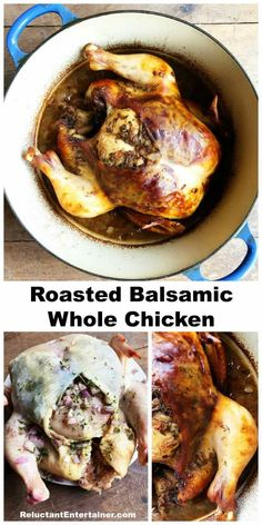 Roasted Balsamic Whole Chicken Recipe, on the table in 2 hours, delicious for company! Duck Recipes, Oven Recipes, Turkey Recipes, Meat Recipes, Easy Dinner Recipes, Crockpot Recipes, Chicken Recipes, Easy Meals, Cooking Recipes