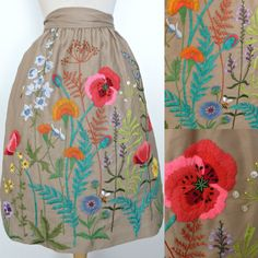 Vintage 60s Skirt / Divine Khaki Tan Embroidered Button Beaded Flower Bee Garden A Line Wrap ggmm by GGMMVintage on Etsy