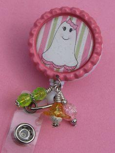 Halloween ID Badge Reel Bottle Cap Jewelry