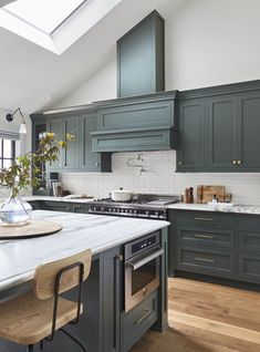 Portland Kitchen Reveal with Dark Green Cabinets + Subway Tile + Marble Countert. Portland Kitchen Reveal with Dark Green Cabinets + Subway Tile + Marble Countertop + Wood Floors via Style by Emily Henderson Rustic Kitchen, Kitchen Renovation, Green Cabinets, New Kitchen, New Kitchen Cabinets, Kitchen Marble, Green Kitchen Cabinets, Kitchen Interior, Interior Design Kitchen