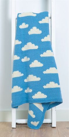 You'll be on cloud nine with this soft and cozy blanket by Vikki Bird, featuring fluffy little clouds in a blue summer sky. Fluffy White Clouds is a baby blanket inspired by those perfect spring days. Knitting For Kids, Knitting Projects, Baby Knitting, Crochet Projects, Knitting Patterns, Disney Crochet Patterns, Crochet Disney, Blanket Patterns, Knitting Ideas