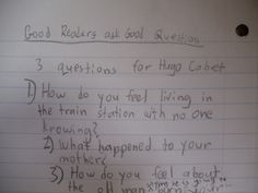 Reading Response Journals... In my class, we ask the characters questions!