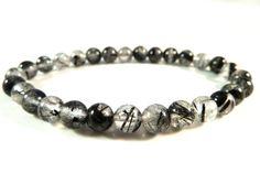 Black Tourmaline Rutilated Quartz Crystal Stretch Bracelet 6mm High Quality Smooth Round Beads by SandiLaneFineArt on Etsy