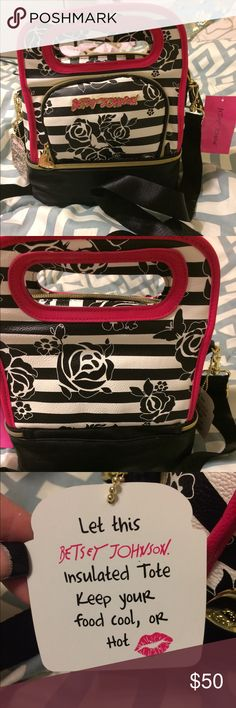 NWT Betsy Johnson lunch tote! Has two separate compartments, detailed adjustable strap, stylish way to bring your lunch with you where ever you like. Betsey Johnson Bags