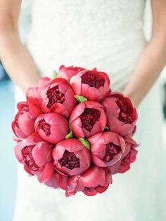 Bouquet da sposa rossi - Peonie rosse rosate