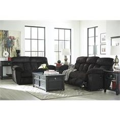 """Rent to Own Living Room Furniture - Premier Rental-Purchase located in Dayton. Signature Furniture by Ashley """"Saul-Black"""" Sofa and Recliner"""
