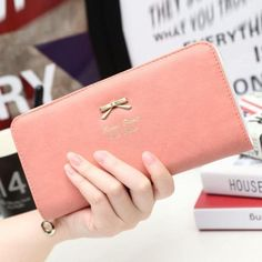 379629ccd821 carteras mujer 2017 Fashion Women Clutch Long Bow Purse Wallet Solid  England Style Card Holder Handbag Bag Portefeuille Femme