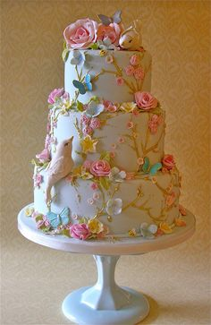 Love is in the air   Lynette Horner   Flickr Beautiful Birthday Cakes, Beautiful Wedding Cakes, Gorgeous Cakes, Pretty Cakes, Cute Cakes, Amazing Cakes, Bird Cakes, Cupcake Cakes, Flower Cakes
