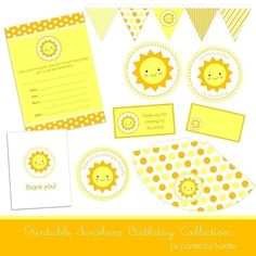Sunshine Birthday Party Printable PDF file by nickwilljack on Etsy, $10.00  Ideas for Eleanor's first birthday!