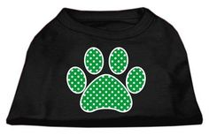 Mirage cat Products Green Swiss Dot Paw Screen Print Shirt, XX-Large, Black >>> See this awesome image  : Cat Apparel
