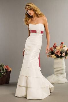 Mermaid Sweetheart Multi-Layered Bias Banded Taffeta Wedding Dress-wm0039,  $209.95