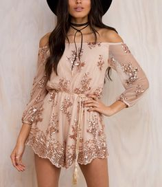 6d003b4ff7a Sequinned Lace Off-The-Shoulder Long Cuff-Sleeved Romper Jumpsuits For Women