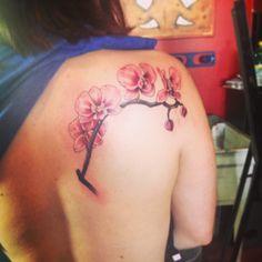 Orchid tattoo by Brent Toujee, Tattoo X, Colorado Springs, CO Orchid Tattoo, Colorado Springs, Watercolor Tattoo, Orchids, Ink, Tattoos, Ideas, Tatuajes, Tattoo