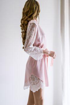 Bridal robe/ Silk Robe/Wedding Robe/ Short Silk Robe/ Lace Pretty Lingerie, Wedding Lingerie, Sexy Lingerie, Bridal Robes Getting Ready, Lingerie Bonita, Vestido Baby Doll, Wedding Robe, Pink Lace Shorts, Cute Sleepwear