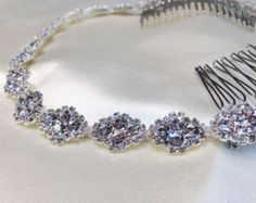 Rhinestone Bridal Headband Wedding Hair by DavieandChiyo on Etsy